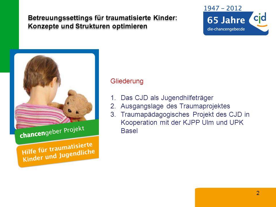 Betreuungssettings für traumatisierte Kinder: Konzepte und Strukturen optimieren 2 Gliederung 1.Das CJD als Jugendhilfeträger 2.Ausgangslage des Traum