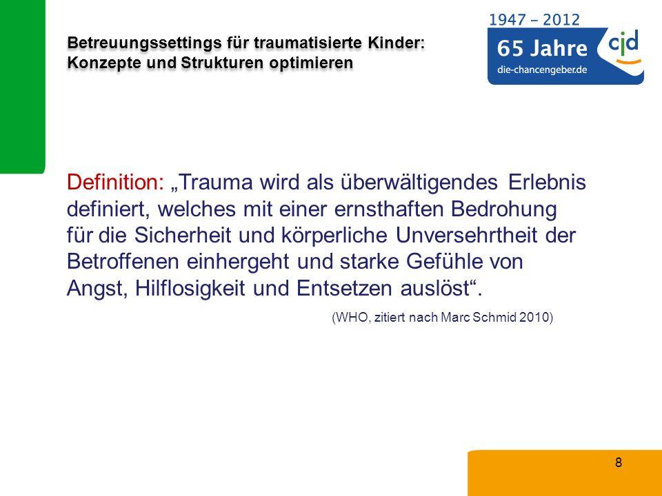 Betreuungssettings für traumatisierte Kinder: Konzepte und Strukturen optimieren 8 Definition: Trauma wird als überwältigendes Erlebnis definiert, wel