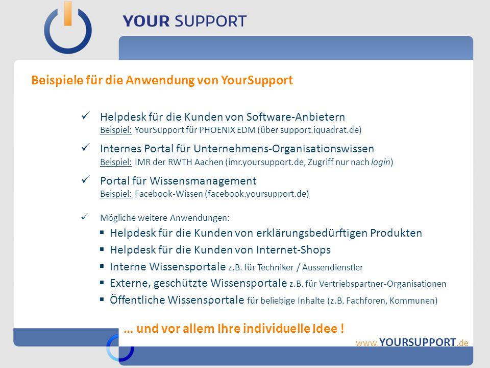 Beispiele für die Anwendung von YourSupport www. YOURSUPPORT.de Helpdesk für die Kunden von Software-Anbietern Beispiel: YourSupport für PHOENIX EDM (