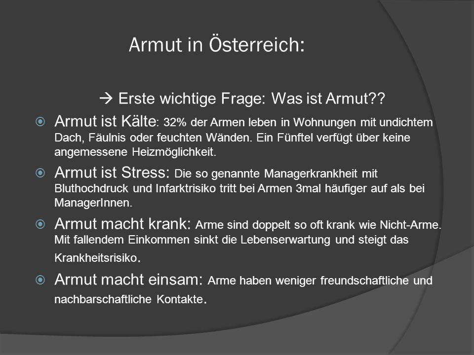 Armut in Österreich: Erste wichtige Frage: Was ist Armut?.