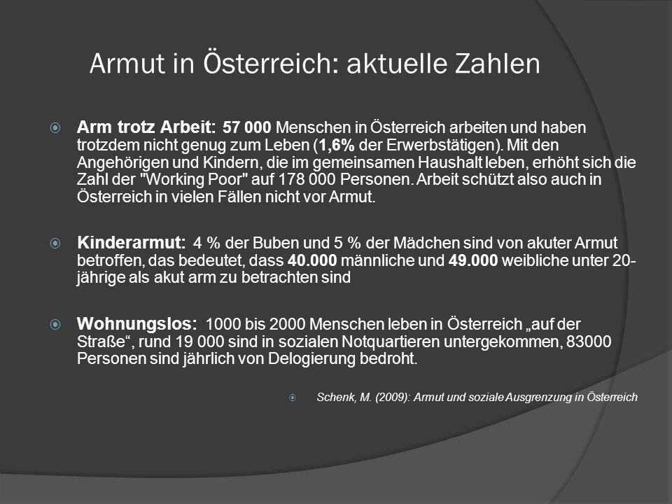 Armut in Österreich: aktuelle Zahlen Armutsschwelle (Stand 2010): Als statistische Armutsgefährdungsschwelle gilt ein Monatseinkommen von EUR 1.031 (12-mal).