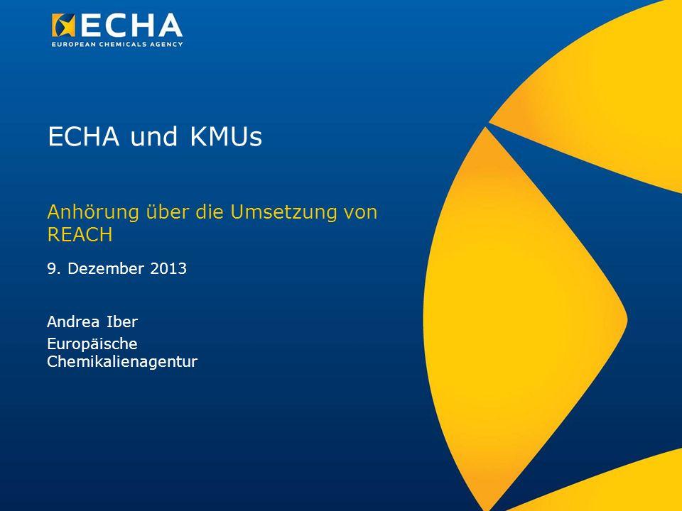 ECHA und KMUs Anhörung über die Umsetzung von REACH Andrea Iber Europäische Chemikalienagentur 9. Dezember 2013