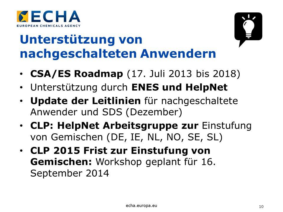10 Unterstützung von nachgeschalteten Anwendern CSA/ES Roadmap (17. Juli 2013 bis 2018) Unterstützung durch ENES und HelpNet Update der Leitlinien für