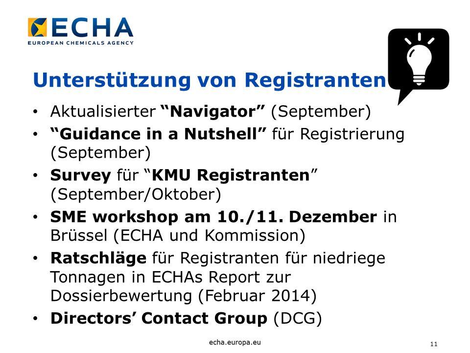 11 Unterstützung von Registranten Aktualisierter Navigator (September) Guidance in a Nutshell für Registrierung (September) Survey für KMU Registrante