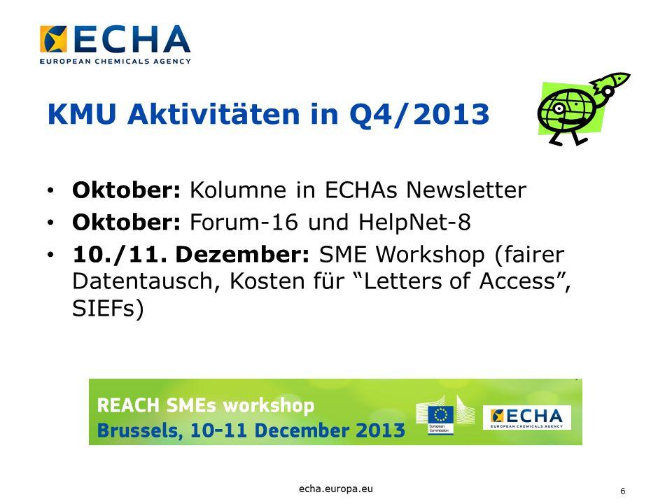 6 KMU Aktivitäten in Q4/2013 Oktober: Kolumne in ECHAs Newsletter Oktober: Forum-16 und HelpNet-8 10./11. Dezember: SME Workshop (fairer Datentausch,