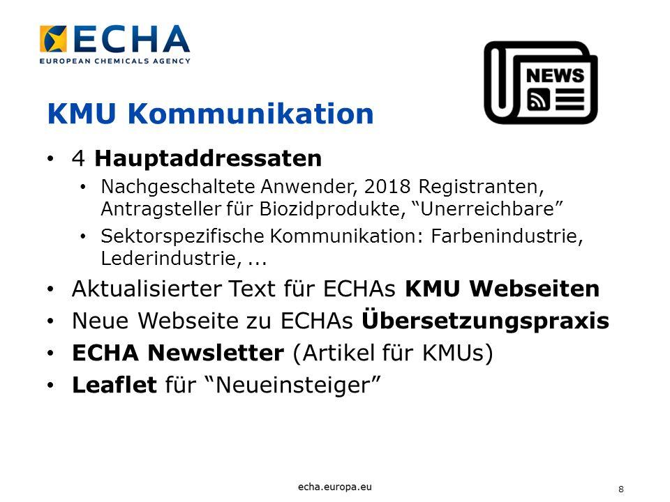 8 KMU Kommunikation 4 Hauptaddressaten Nachgeschaltete Anwender, 2018 Registranten, Antragsteller für Biozidprodukte, Unerreichbare Sektorspezifische