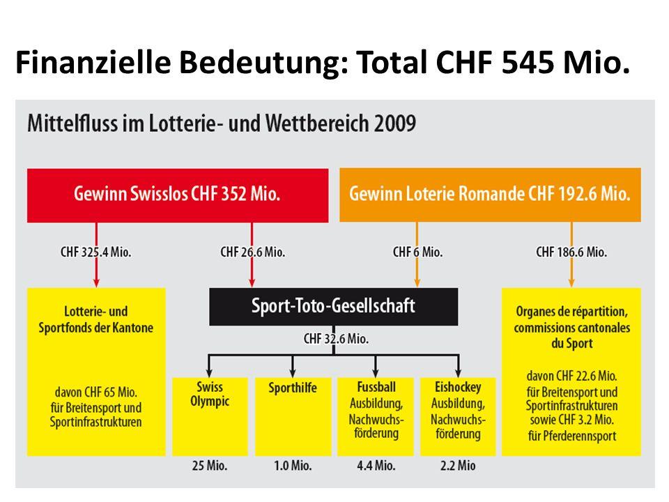 Millionen Franken (2009) Finanzielle Bedeutung: Rund 30% für Kultur