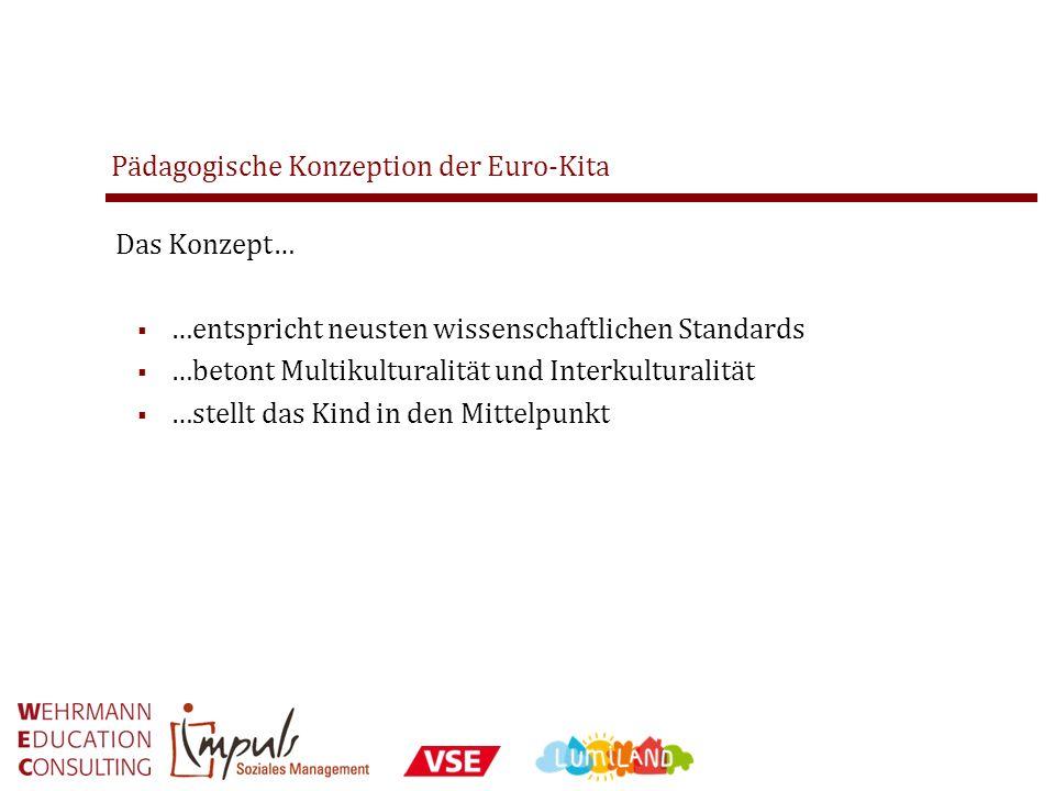 Pädagogische Konzeption der Euro-Kita Das Konzept… …entspricht neusten wissenschaftlichen Standards …betont Multikulturalität und Interkulturalität …s