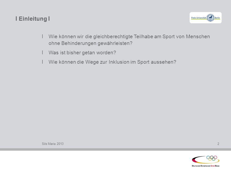 l Einleitung l Sils Maria 20132 l Wie können wir die gleichberechtigte Teilhabe am Sport von Menschen ohne Behinderungen gewährleisten? l Was ist bish