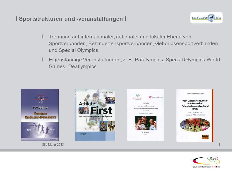 I Sportstrukturen und -veranstaltungen I l Trennung auf internationaler, nationaler und lokaler Ebene von Sportverbänden, Behindertensportverbänden, G