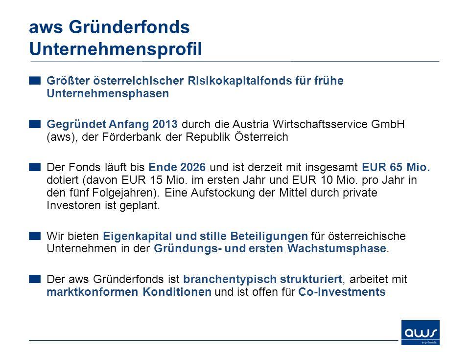 Größter österreichischer Risikokapitalfonds für frühe Unternehmensphasen Gegründet Anfang 2013 durch die Austria Wirtschaftsservice GmbH (aws), der Fö