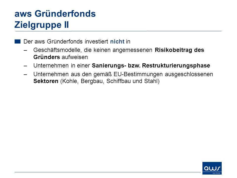 Der aws Gründerfonds investiert nicht in –Geschäftsmodelle, die keinen angemessenen Risikobeitrag des Gründers aufweisen –Unternehmen in einer Sanieru