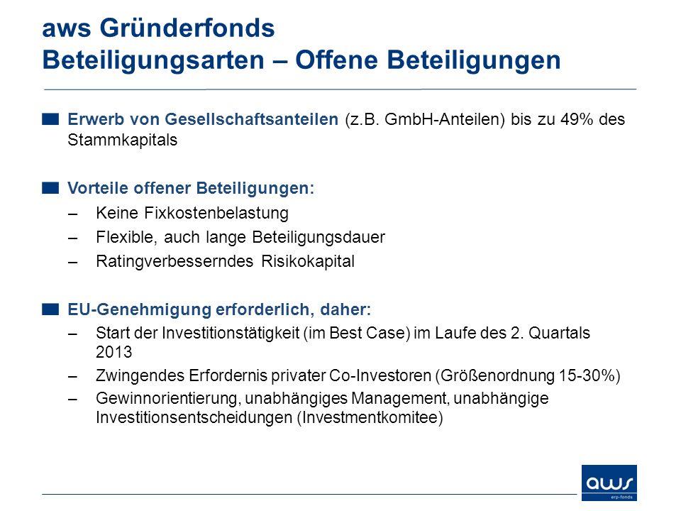 Erwerb von Gesellschaftsanteilen (z.B. GmbH-Anteilen) bis zu 49% des Stammkapitals Vorteile offener Beteiligungen: –Keine Fixkostenbelastung –Flexible