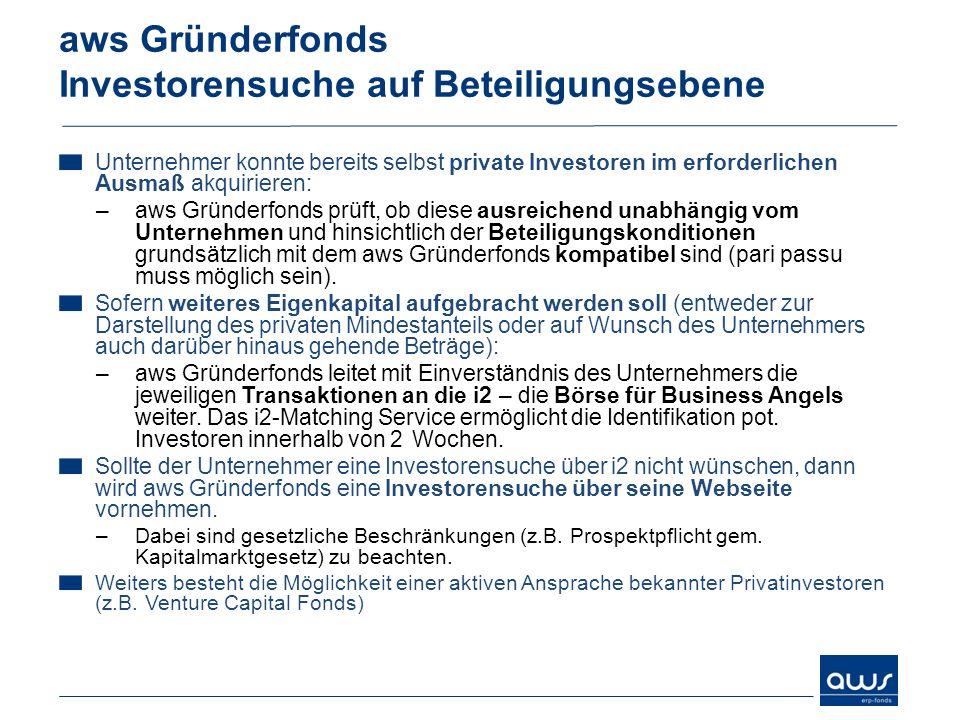 Unternehmer konnte bereits selbst private Investoren im erforderlichen Ausmaß akquirieren: –aws Gründerfonds prüft, ob diese ausreichend unabhängig vo