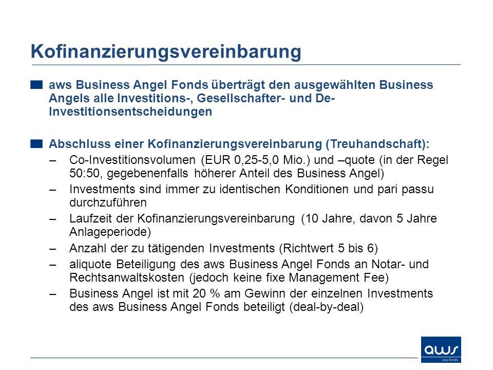 aws Business Angel Fonds überträgt den ausgewählten Business Angels alle Investitions-, Gesellschafter- und De- Investitionsentscheidungen Abschluss e