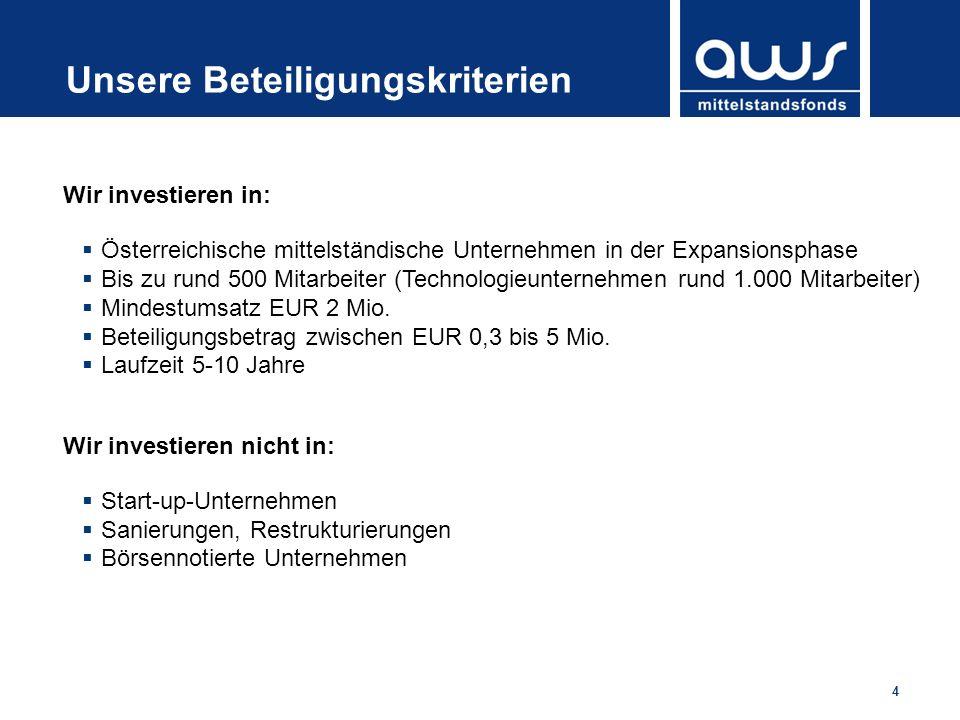 4 Unsere Beteiligungskriterien Wir investieren in: Österreichische mittelständische Unternehmen in der Expansionsphase Bis zu rund 500 Mitarbeiter (Te
