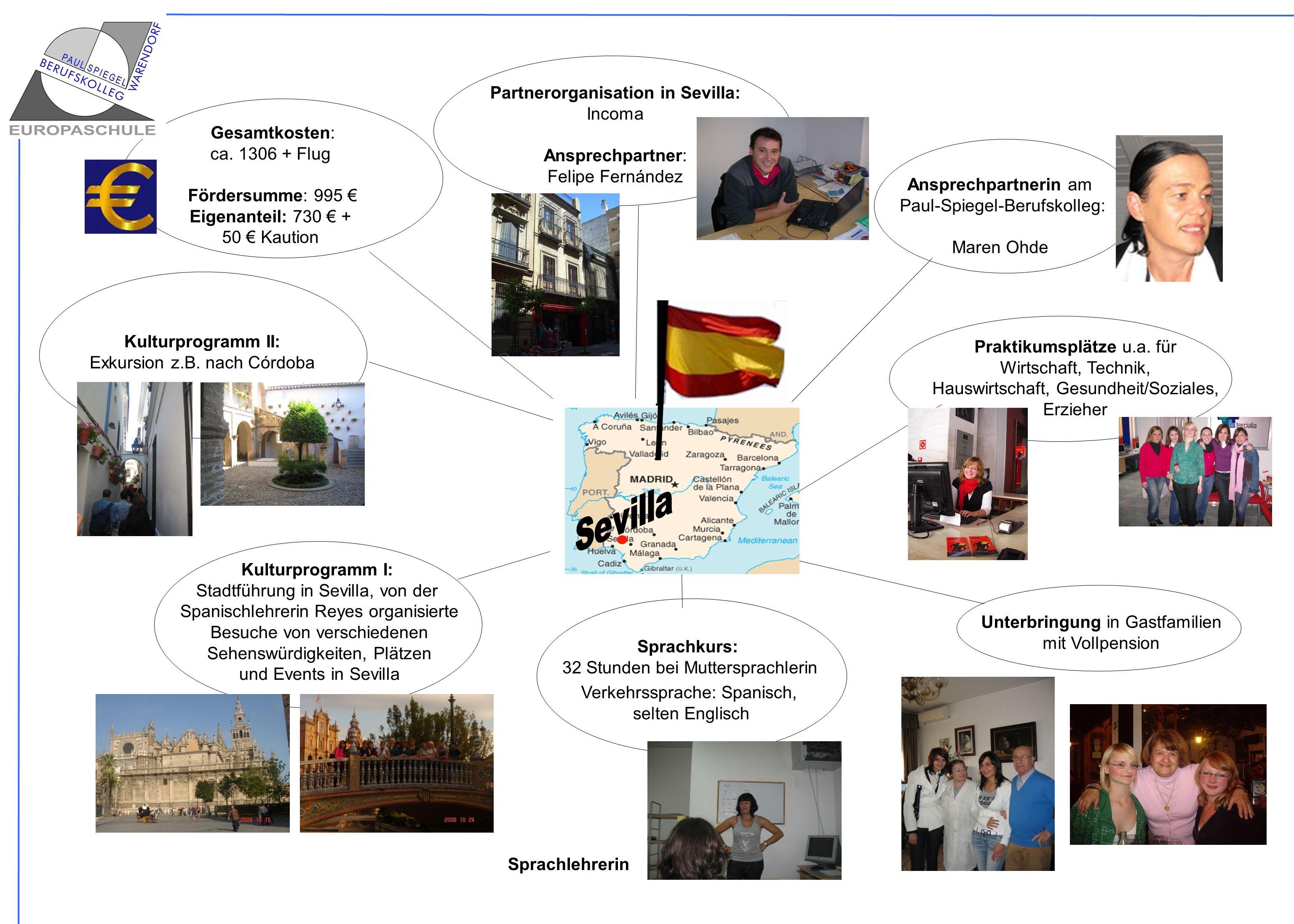 Partnerorganisation in Sevilla: Incoma Ansprechpartner: Felipe Fernández Ansprechpartnerin am Paul-Spiegel-Berufskolleg: Maren Ohde Praktikumsplätze u
