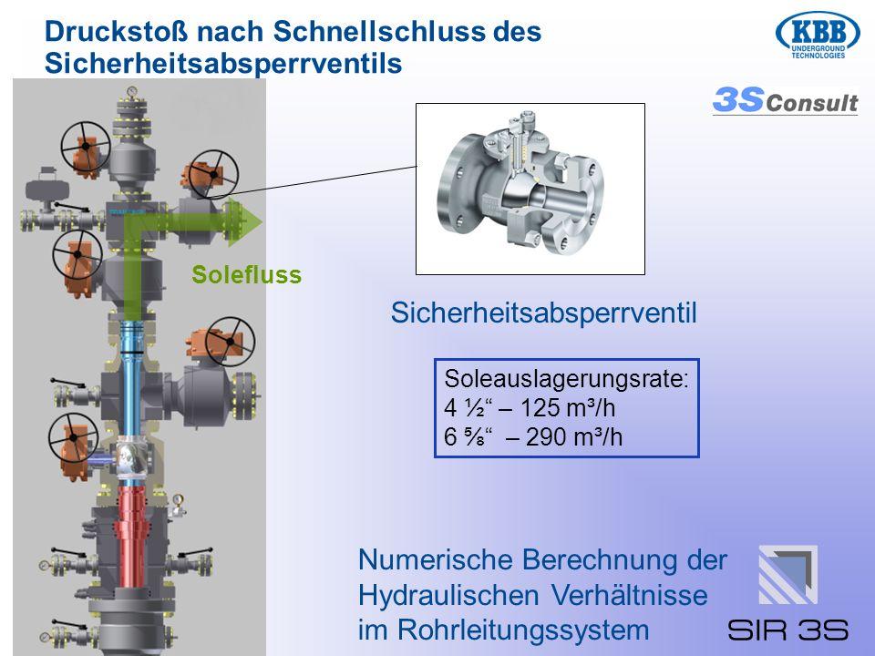 Druckstoß nach Schnellschluss des Sicherheitsabsperrventils Numerische Berechnung der Hydraulischen Verhältnisse im Rohrleitungssystem Soleauslagerung