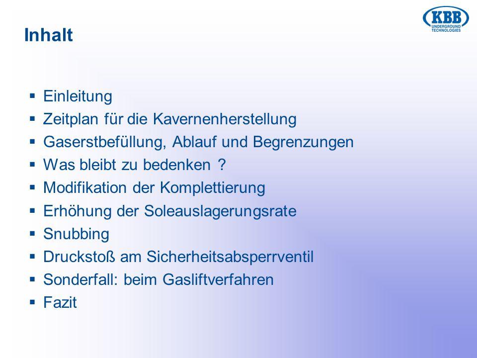 Inhalt Einleitung Zeitplan für die Kavernenherstellung Gaserstbefüllung, Ablauf und Begrenzungen Was bleibt zu bedenken ? Modifikation der Komplettier
