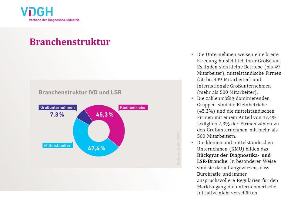 Branchenstruktur Die Unternehmen weisen eine breite Streuung hinsichtlich ihrer Größe auf. Es finden sich kleine Betriebe (bis 49 Mitarbeiter), mittel
