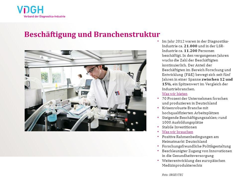 Beschäftigung und Branchenstruktur Im Jahr 2012 waren in der Diagnostika- Industrie ca. 21.000 und in der LSR- Industrie ca. 11.200 Personen beschäfti