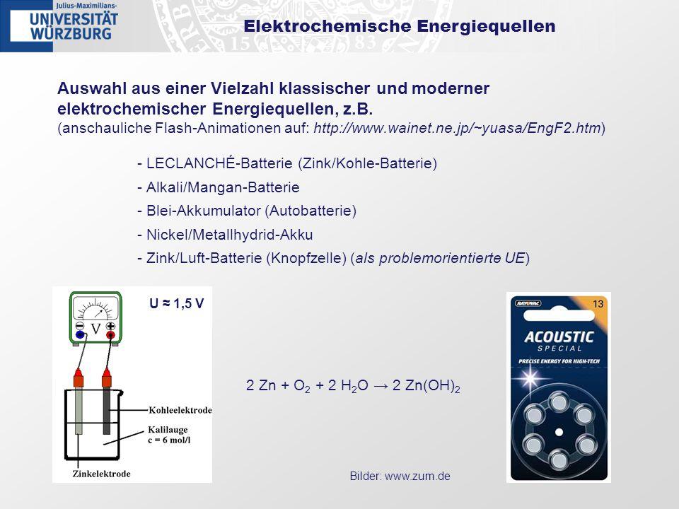 Elektrochemische Energiequellen Auswahl aus einer Vielzahl klassischer und moderner elektrochemischer Energiequellen, z.B. (anschauliche Flash-Animati
