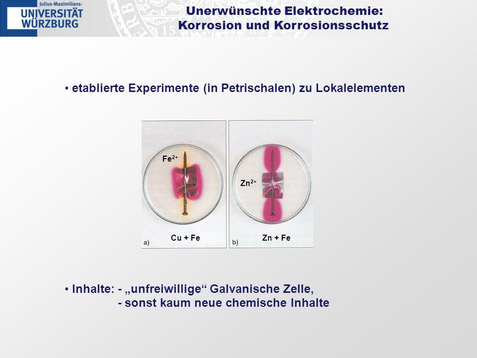 Unerwünschte Elektrochemie: Korrosion und Korrosionsschutz etablierte Experimente (in Petrischalen) zu Lokalelementen Inhalte: - unfreiwillige Galvani