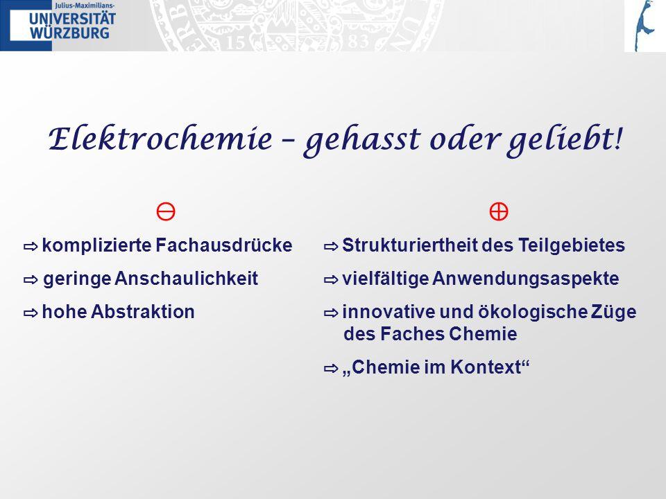 Wege zur Nernstschen Gleichung Schulische Erarbeitung: Messungen an Konzentrationszellen, z.B.