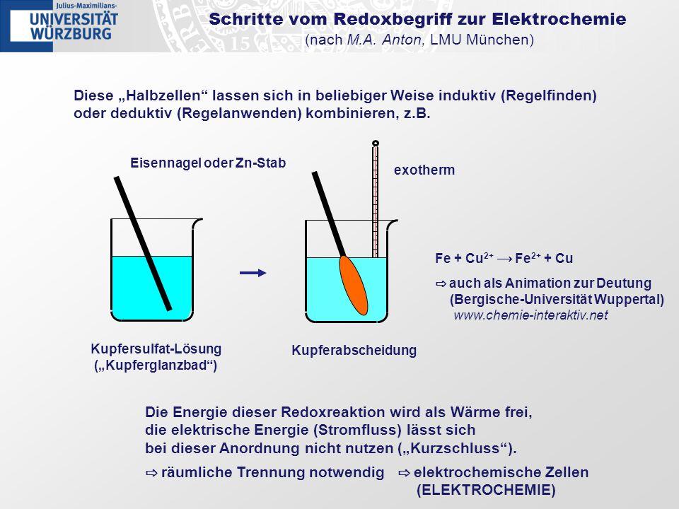 Diese Halbzellen lassen sich in beliebiger Weise induktiv (Regelfinden) oder deduktiv (Regelanwenden) kombinieren, z.B. Schritte vom Redoxbegriff zur