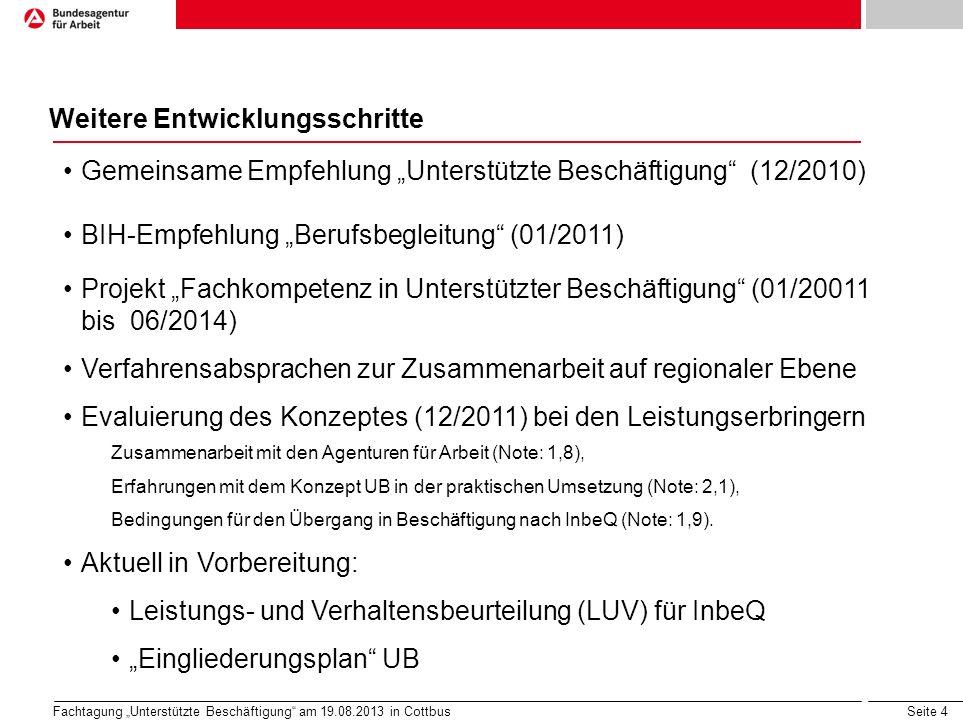 Seite 5 Fachtagung Unterstützte Beschäftigung am 19.08.2013 in Cottbus Entwicklung der Teilnehmerzahlen a)bundesweit b)regional (Eintritte) 2009201020112012 Eintritte1.6591.9142.674 2.587 Jahresdurchschnitts- bestand5712.0232.7813.099 2009201020112012 Berlin52566176 Brandenburg75 9091 Mecklenburg- Vorpommern37507247 Sachsen116160146155 Sachsen-Anhalt67568154 Thüringen4093112111