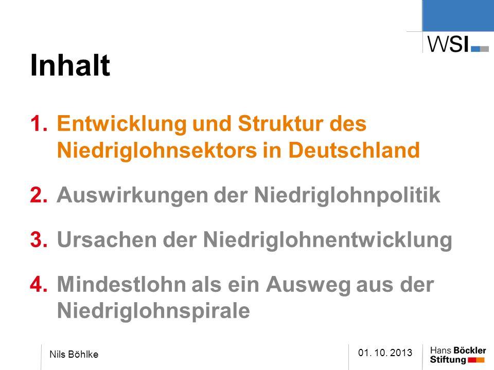 Inhalt 01. 10. 2013 Nils Böhlke 1.Entwicklung und Struktur des Niedriglohnsektors in Deutschland 2.Auswirkungen der Niedriglohnpolitik 3.Ursachen der