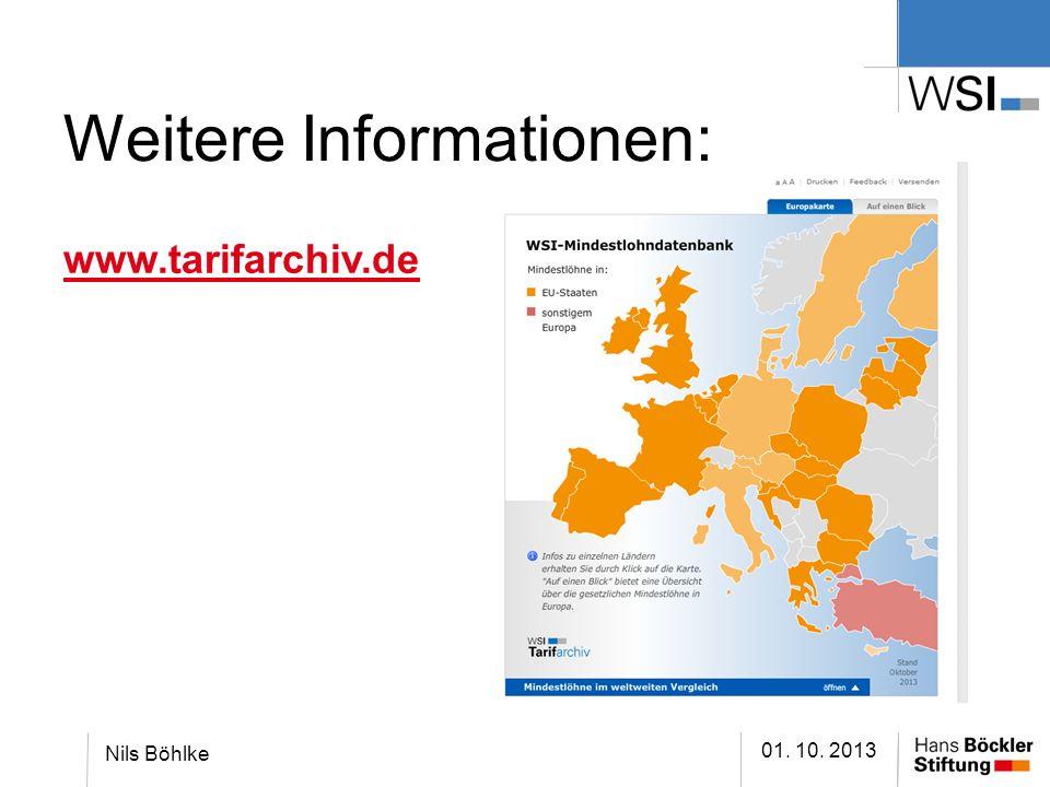 Weitere Informationen: www.tarifarchiv.de 01. 10. 2013 Nils Böhlke