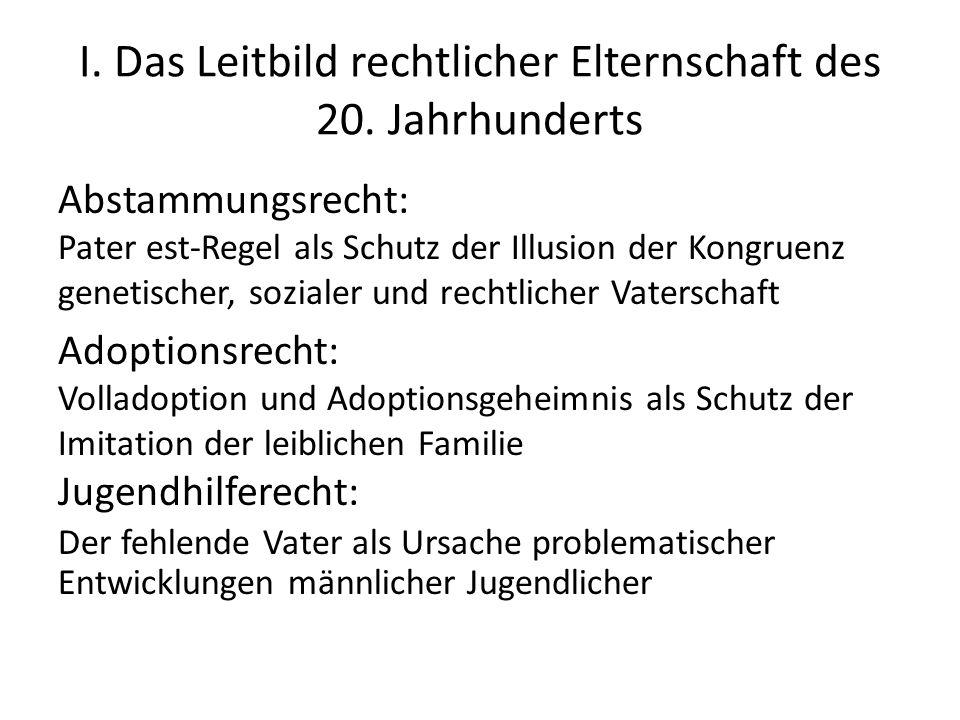 I. Das Leitbild rechtlicher Elternschaft des 20.