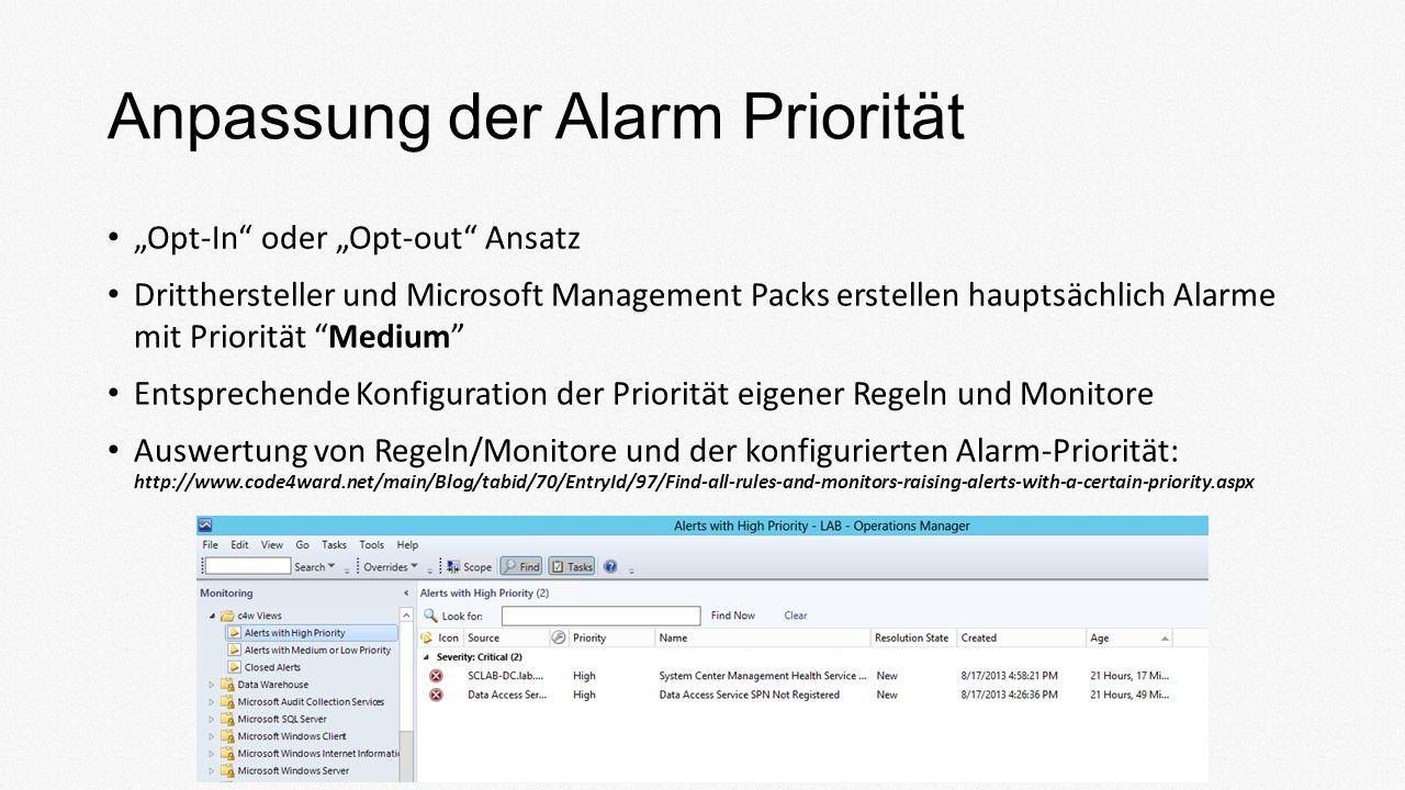 Anpassung der Alarm Priorität Opt-In oder Opt-out Ansatz Dritthersteller und Microsoft Management Packs erstellen hauptsächlich Alarme mit Priorität Medium Entsprechende Konfiguration der Priorität eigener Regeln und Monitore Auswertung von Regeln/Monitore und der konfigurierten Alarm-Priorität: http://www.code4ward.net/main/Blog/tabid/70/EntryId/97/Find-all-rules-and-monitors-raising-alerts-with-a-certain-priority.aspx