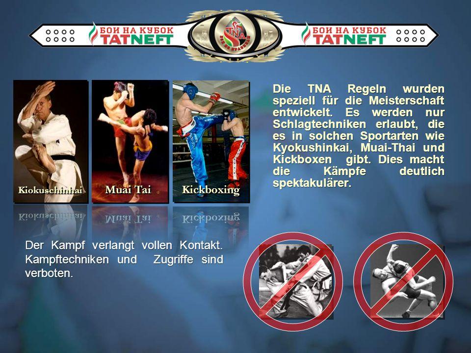 Die TNA Regeln wurden speziell für die Meisterschaft entwickelt. Es werden nur Schlagtechniken erlaubt, die es in solchen Sportarten wie Kyokushinkai,