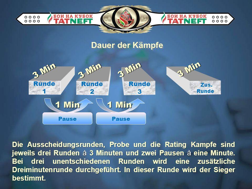 Dauer der Kämpfe Die Ausscheidungsrunden, Probe und die Rating Kampfe sind jeweils drei Runden à 3 Minuten und zwei Pausen à eine Minute.