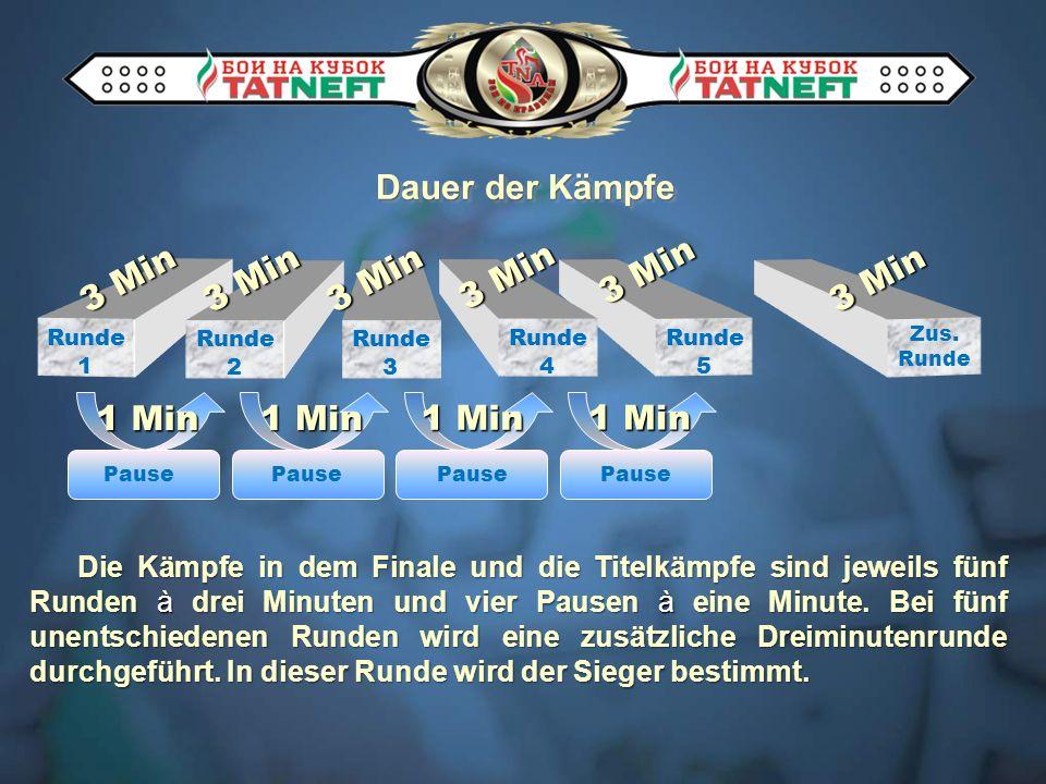 Zus. Runde Die Kämpfe in dem Finale und die Titelkämpfe sind jeweils fünf Runden à drei Minuten und vier Pausen à eine Minute. Bei fünf unentschiedene