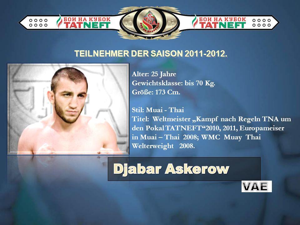 TEILNEHMER DER SAISON 2011-2012. Alter: 25 Jahre Gewichtsklasse: bis 70 Kg. Größe: 173 Cm. Stil: Muai - Thai Titel: Weltmeister Kampf nach Regeln TNA