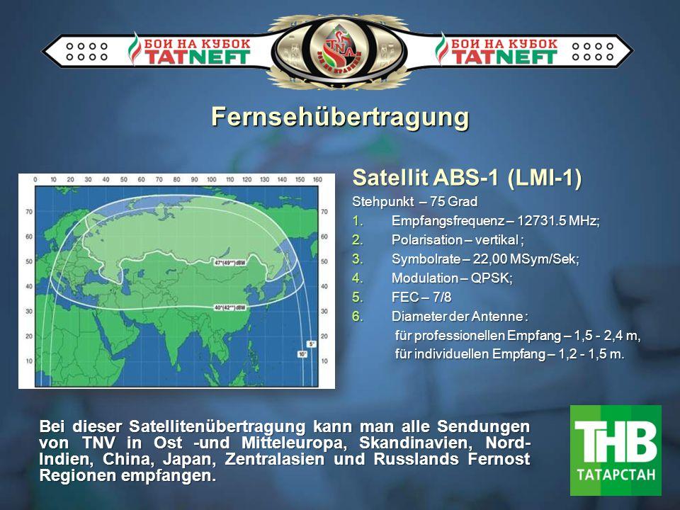 Satellit ABS-1 (LMI-1) Stehpunkt – 75 Grad 1.Empfangsfrequenz – 12731.5 MHz; 2.Polarisation – vertikal ; 3.Symbolrate – 22,00 МSym/Sek; 4.Modulation – QPSK; 5.FEC – 7/8 6.Diameter der Antenne : für professionellen Empfang – 1,5 - 2,4 m, für professionellen Empfang – 1,5 - 2,4 m, für individuellen Empfang – 1,2 - 1,5 m.