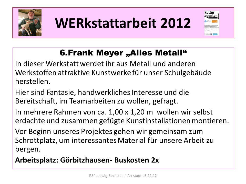 WERkstattarbeit 2012 6.Frank Meyer Alles Metall In dieser Werkstatt werdet ihr aus Metall und anderen Werkstoffen attraktive Kunstwerke für unser Schulgebäude herstellen.