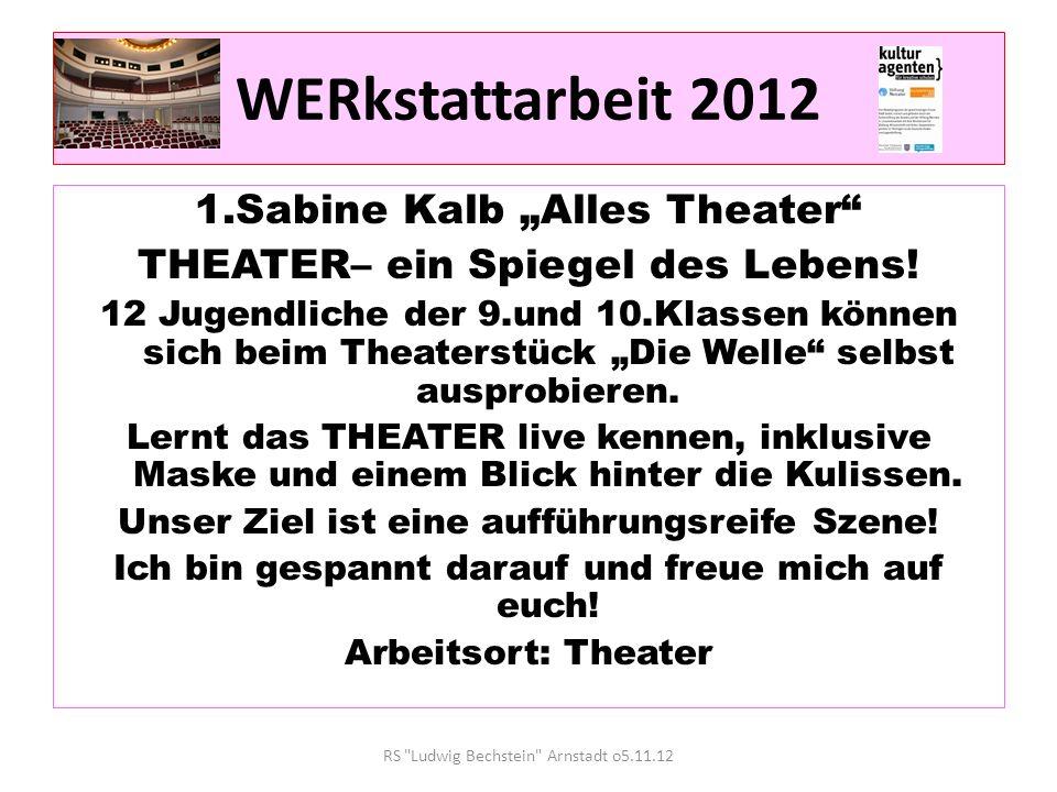 WERkstattarbeit 2012 1.Sabine Kalb Alles Theater THEATER– ein Spiegel des Lebens.