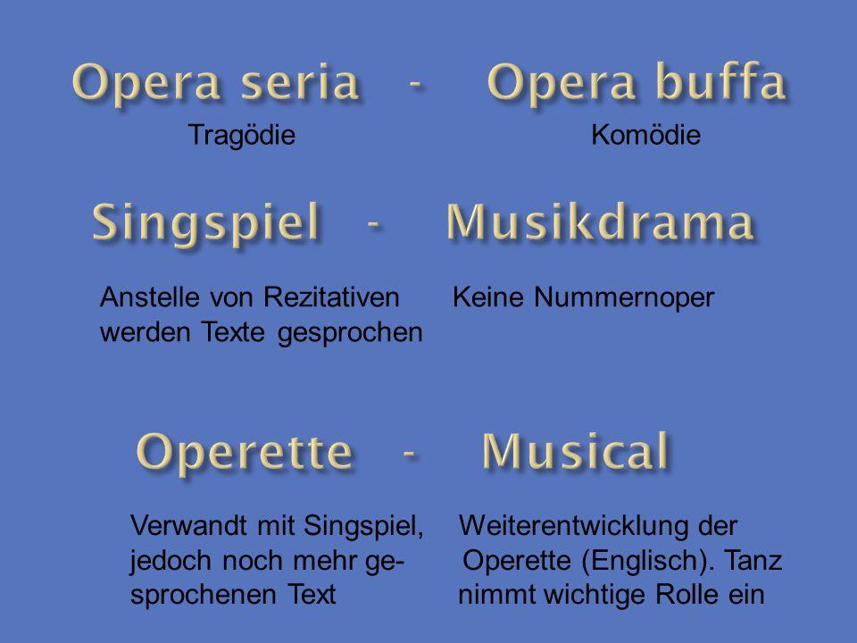 Tragödie Komödie Anstelle von Rezitativen Keine Nummernoper werden Texte gesprochen Verwandt mit Singspiel, Weiterentwicklung der jedoch noch mehr ge-