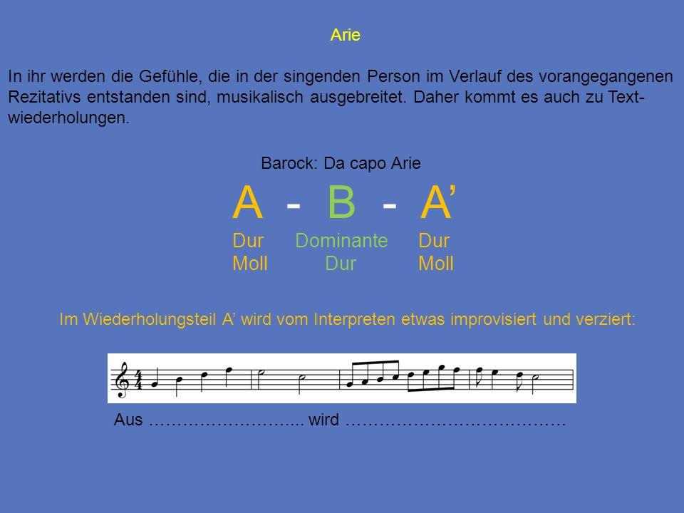 Arie In ihr werden die Gefühle, die in der singenden Person im Verlauf des vorangegangenen Rezitativs entstanden sind, musikalisch ausgebreitet. Daher
