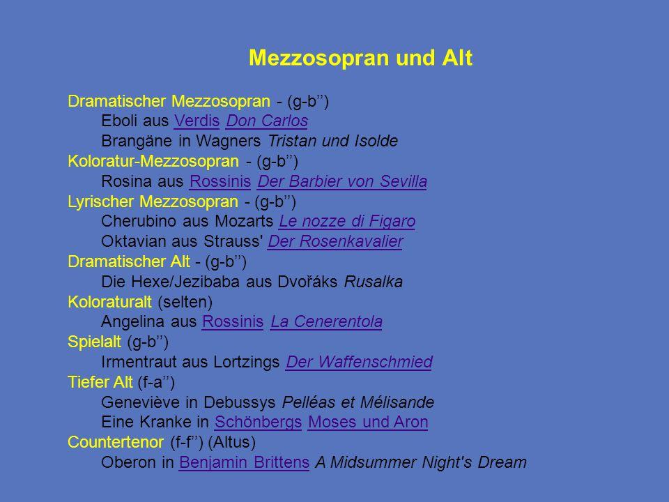 Mezzosopran und Alt Dramatischer Mezzosopran - (g-b) Eboli aus Verdis Don CarlosVerdisDon Carlos Brangäne in Wagners Tristan und Isolde Koloratur-Mezz