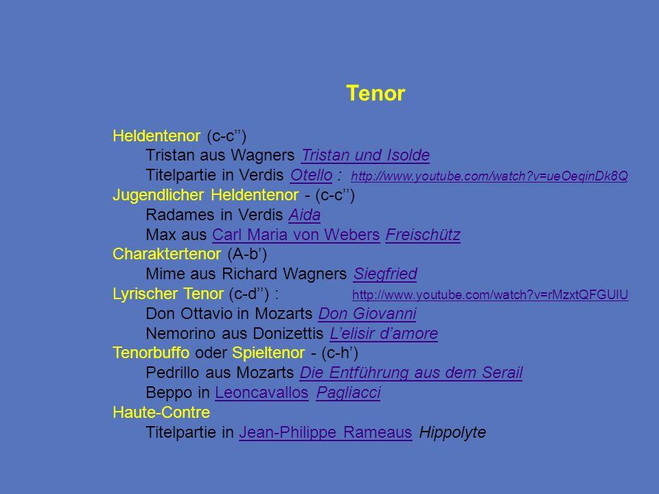 Tenor Heldentenor (c-c) Tristan aus Wagners Tristan und IsoldeTristan und Isolde Titelpartie in Verdis Otello : http://www.youtube.com/watch?v=ueOeqin
