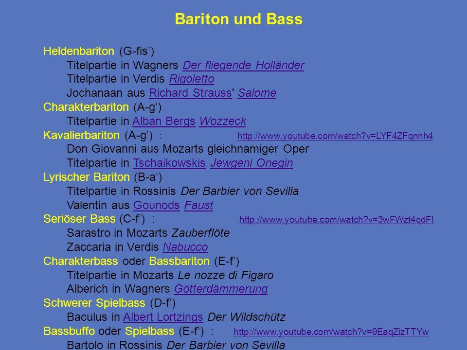 Bariton und Bass Heldenbariton (G-fis) Titelpartie in Wagners Der fliegende HolländerDer fliegende Holländer Titelpartie in Verdis RigolettoRigoletto