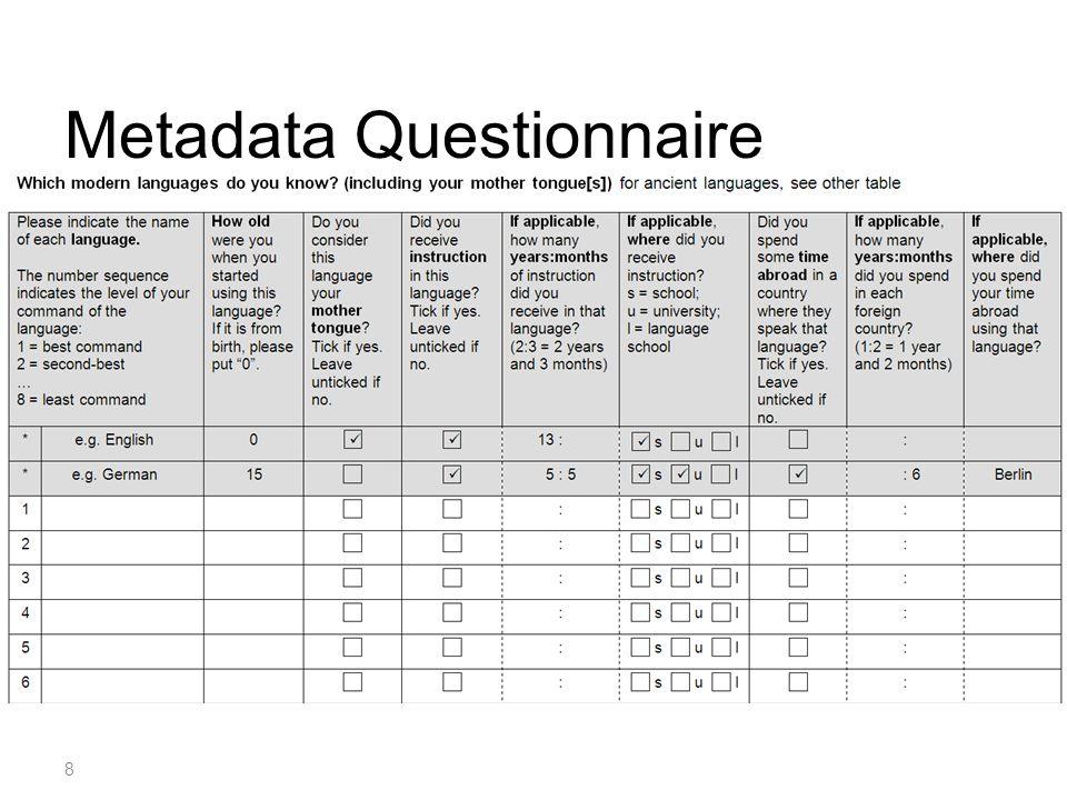 Metadata Questionnaire 8