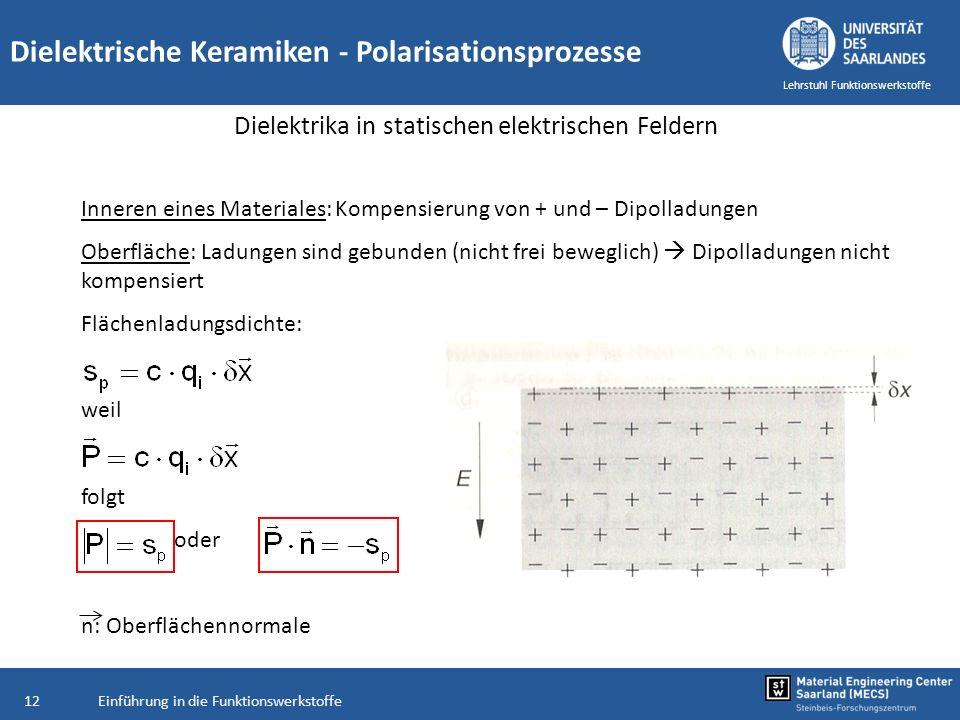 Einführung in die Funktionswerkstoffe12 Lehrstuhl Funktionswerkstoffe Inneren eines Materiales: Kompensierung von + und – Dipolladungen Oberfläche: La