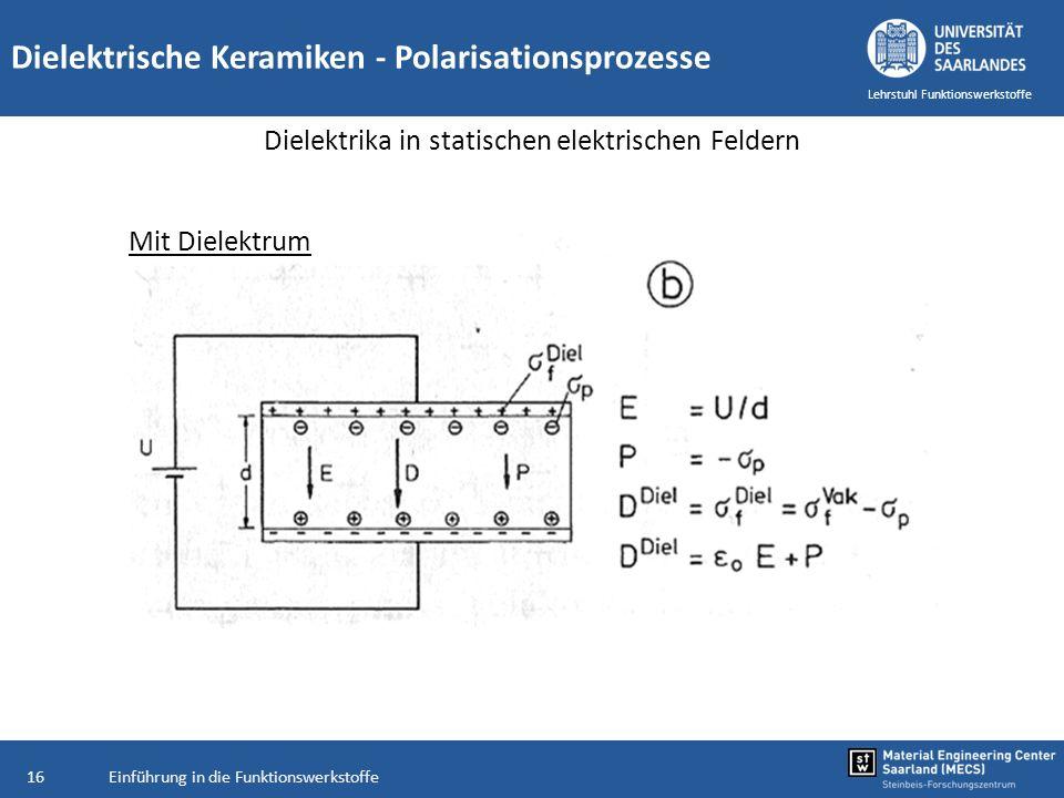 Einführung in die Funktionswerkstoffe16 Lehrstuhl Funktionswerkstoffe Dielektrische Keramiken - Polarisationsprozesse Dielektrika in statischen elektr