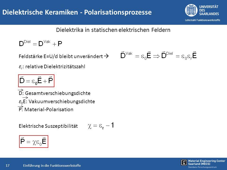 Einführung in die Funktionswerkstoffe17 Lehrstuhl Funktionswerkstoffe Dielektrische Keramiken - Polarisationsprozesse Dielektrika in statischen elektr